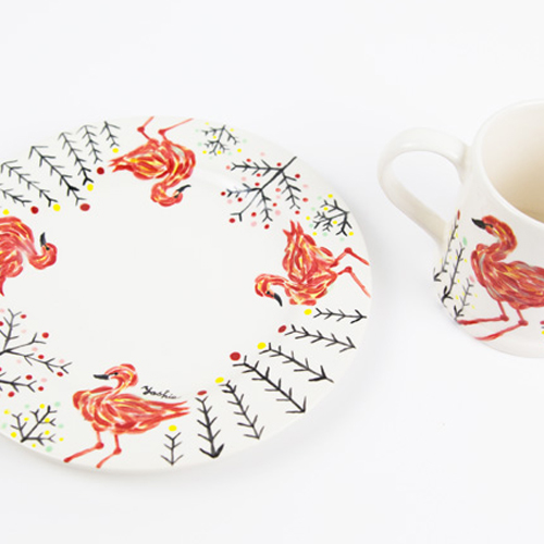 Hand painted pottery・Flamingo・手描きの陶器「フラミンゴ」