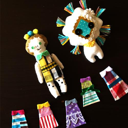 Bespoke doll 'Miss Pompom and Lion' ・ハギレドール「ポンポンちゃんとライオン」